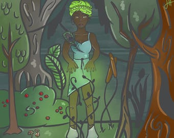 """8.5""""x11"""" Digital Art PRINT, FANTASY and MAGIC Illustration, """"Queen of the Forest"""""""