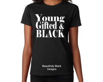 African American Women's T Shirt-Personalized/Custom-Young Gifted And Black Woman Topography Design