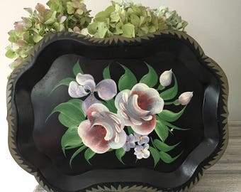 Small Black Hand-painted Toleware Tray