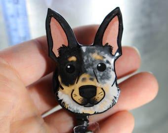 Blue heeler Retractable ID Badge holder for prepunch badges 33 inch cord CNA HCA Housekeeping veterinarian Nurse Dog lover gift