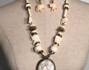 African bone necklace with matching earrings