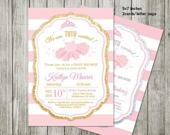 ballerina invitation - Girl Baby Shower Invitation, Glitter Baby Shower, Ballerina Baby Shower invitation, Tutu Baby Shower Invitation