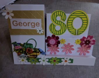 George's 80th gardenning themed display card