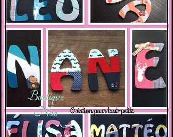 Wooden letters customized children's room