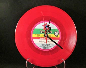 Red Record Clock, Funky clock, Red Decor, Red Clock, Music Lover, Valentine, quirky clock, Upcycled, Red Vinyl, Teenager,