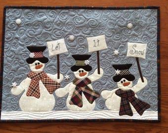 Let it snow three snowmen wall hanging