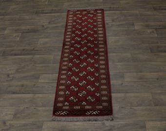 Gorgeous Hallway Hand Knotted Turkoman Persian Area Rug Oriental Carpet 2X6ʹ6