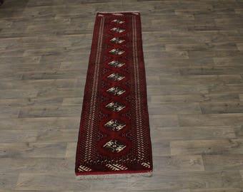 Extra Fine Handmade Runner Turkoman Persian Area Rug Oriental Carpet 2ʹ4X10