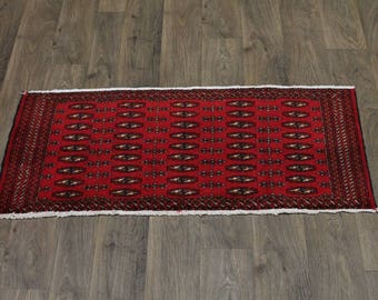 Beautiful Small Size Handmade Red Turkoman Persian Rug Oriental Area Carpet 2X4