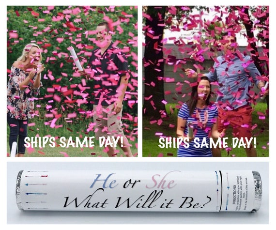 "24"" CONFETTI CANNONS Gender Reveal Ideas Confetti Cannon Smoke Bomb Alternative"