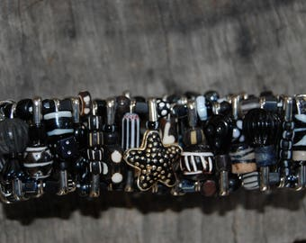 black with white safety pin bracelet