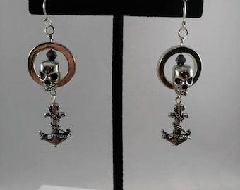 Skull earrings, anchor earrings, skull and anchors earrings, punk earrings, rockabilly earrings, goth earrings, alternative jewelry