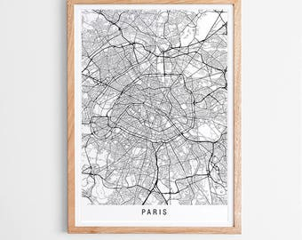 Paris Map Print - Minimalist Map / France / City Print / Maps / Giclee Print / Poster / Framed
