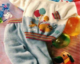 Babies Balloon Motif outfit Knitting Pattern 3 to 12 months pdf