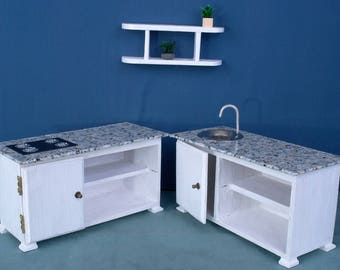 kitchen set 2 cabinet sink hob dolls house wooden 16 playscale barbie