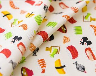 Japanese Fabric   Japanese Cotton Fabric   COSMO TEXTILE   Japanese Sushi, soup, white