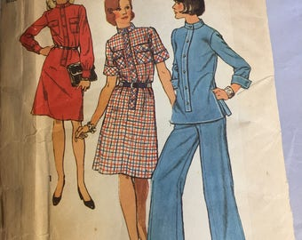 6210 Vintage Simplicity Misses Front Band and Button Dress Plus Top and Pants  Size 14 NO INSTRUCTION SHEET
