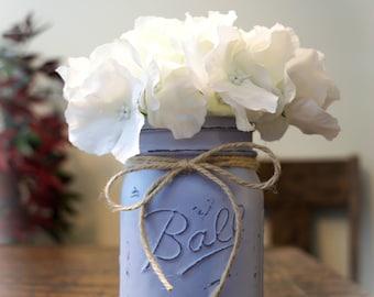 Antiqued/Weathered Blue Mason Jar with White Hydrangea