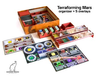 Organizer and Set of Five Single Sided Overlays for Player mats compatible with Terraforming Mars™, Limited Time Offer