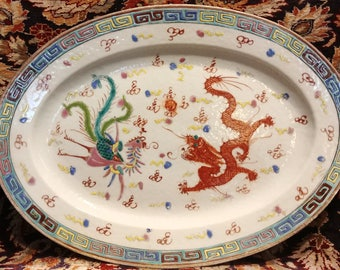 Chinese Famille Verte platter with Dragon Decoration and Greek Key Design 18th-19th century