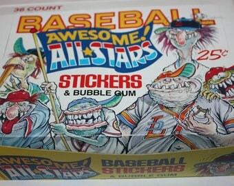 Baseball Awesome All-Stars Bubble Gum Stickers Trading Cards 36 Packs in Original Box 1988