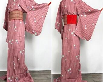 "K020407 Japanese Do-Nuki ""Odori"" Komon Kimono Vintage"