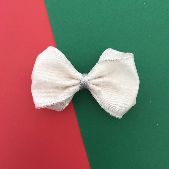 Sweet Pea>> white silver shinmer metallic fluffy hair bow | Holiday hair bows | Christmas hair bows | party hair bows