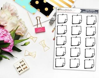 Hand Drawn Sticky Note Planner Stickers   for use with Erin Condren Lifeplanner™, Filofax, Personal, A5, Happy Planner, Bullet Journal