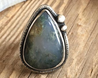 Moss Agate Ring - Agate Ring - Sterling Silver Ring - Nature Jewelry - Boho Ring - Size 6.75 - 7.5