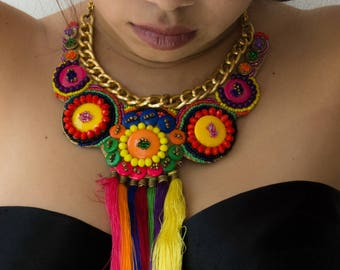 Mexican MaxiNecklace/Handmade Embroidery