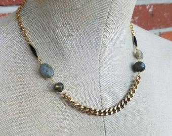 Gold plated labradorite gemstone chain necklace - dark to light