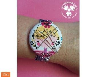 Fairy Needleminder Bracelet, Wrist Magnetic Pincushion, Needle Minder   Elastic Wristband    Sewing Gift, Cross stitch, Seamstress