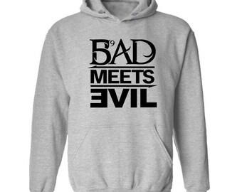 Bad Meets Evil Black Logo Hoodie Classic Vintage Style Hip Hop Fleece Sweatshirt Rap Merch Dr Dre Eminem Revival Detroit Emcees Recovery