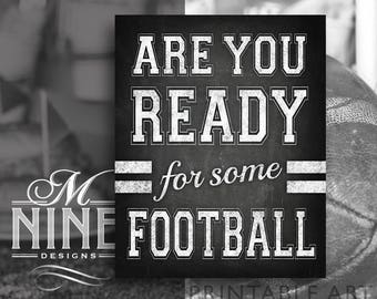 Chalk Football Party Sign Printables | Are You Ready For Some Football | Digital Downloads | Chalkboard Football Party Signs FBC33