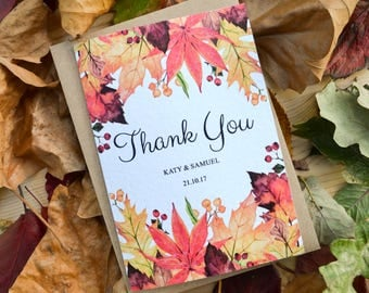 Autumn Fall Wedding Thank You Card - Handmade Rustic