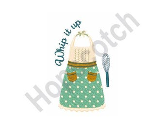 Kitchen Apron And Whisk - Machine Embroidery Design, Whip It Up