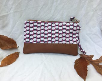 Small Katrina pouch, rose floral with genuine leather trim