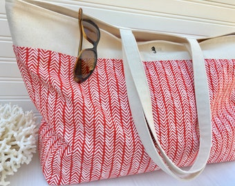 Pool Tote, red herringbone and natural