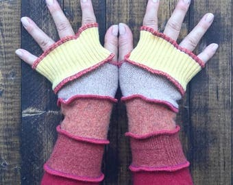 Fingerless Gloves -Made from Recycled Sweaters// Festival Clothing// Altered Couture// Arm Warmers