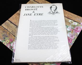 Vintage Paper Ephemera Reproduced Page from Jane Eyre in Charlotte Bronte's Handwriting, Vintage from 1980s