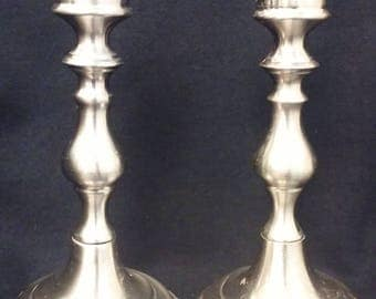 Pair of Vintage Valsan Polished Silver Plated Candlestick Holders