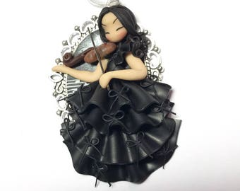 Violin girl,polymer clay pendants,polymer clay small dolls,cernit,necklace,gift for her,cute stuff