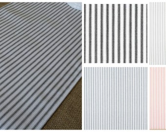 Black White Navy Red Gray Ticking Stripe Table Runner Mattress Ticking  Fabric Country Farmhouse Home Decor