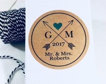 Cross Arrow, Arrow Wedding Stickers, Wedding Favors, Rustic Stickers, Thank You Stickers, Arrow Stickers, Kraft Stickers, Rustic Wedding, 12