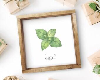 "Mix + Match Kitchen Herb Print || 8""x8"" Basil Kitchen Herb Wall Art || Kitchen Herb Decor || Herb Print Instant Download (DIGITAL PRODUCT)"