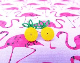 Pineapple Earrings, Pinup Earrings, Rockabilly Earrings, Quilled Earrings, Quilled Jewellery, Pineapples, Stud Earrings, Fruit Jewellery