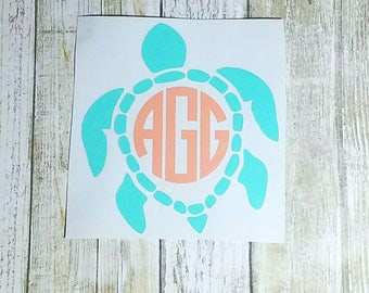 Sea Turtle Vinyl Monogram - Turtle Monogram - Monogram Decal - Summer Decal - Car Decal - Mug Decal - Tumbler Decal