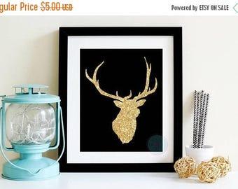 25% OFF SALE- PRINTABLE Art Faux Gold Glitter Gold Deer Head Taxidermy Deer Deer Head Wall Decor Stag Deer Art Reindeer Wall Art Deer Head W