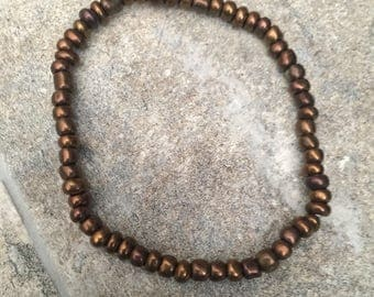 Brown Beaded / Bronze Beaded Bracelet made on stretch cord / Free shipping