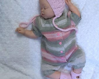 Summer Outdoors. Coming Home Set. Knitted baby clothes. Baby knit romper. Hand knitted baby set. Newborn coverall. jumpsuit knitted
